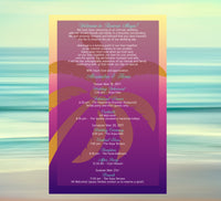 custom palm tree wedding itinerary program menu welcome letter
