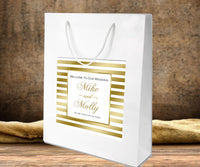(sku160)Welcome Bag label gold stripe with any accent for hotel gift bag, wedding favor, goody bag