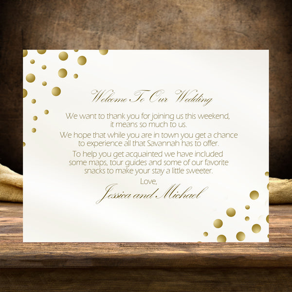 (sku185) Gold dot note card | wedding welcome note | party invitation | thank-you card - Best Welcome Bags