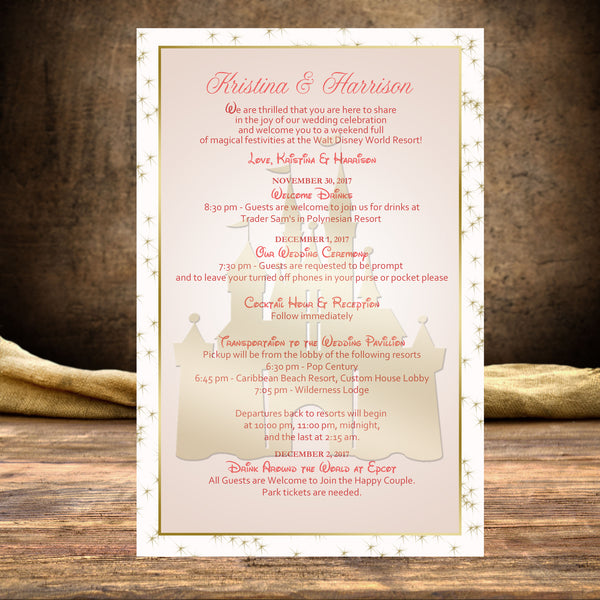 ;pink gold Disney castle wedding itinerary welcome note program