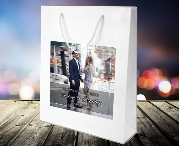 (sku156) Your photo or logo welcome bags | hotel guest gift bags | wedding favor bags - Best Welcome Bags