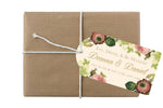 vintage blush floral on ivory hang tag for welcome bag, gift, bottle