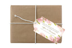 custom printed soft blush rose hang tag for gift, bottle or bag