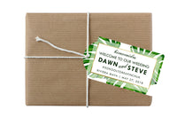 custom monstera leaf hang tag for wedding favor, welcome gift bag