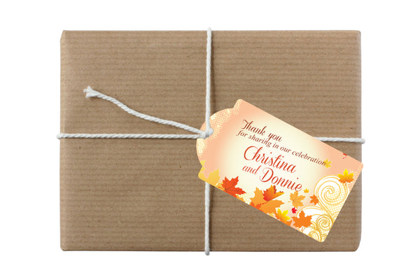 autumn fall hang tag for bottle gift wedding favor goody bag