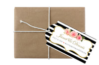 black stripe hang tag for welcome bag, gift, bottles, gold n pink