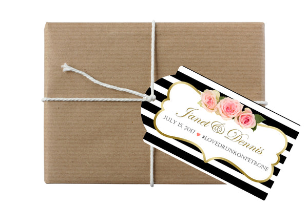 (sku105) Custom black stripe hang tag | wedding welcome bag tags | gift bottle tags - Best Welcome Bags