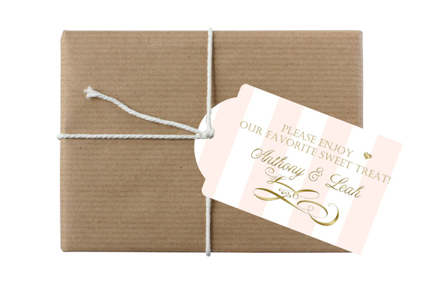 broad blush stripe with gold text hang tag for gift, bottle, bag
