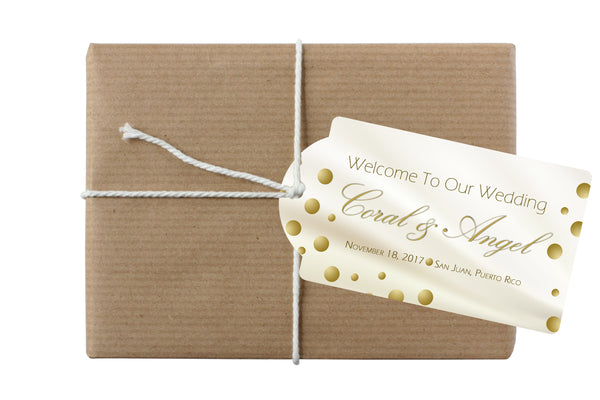 (sku181a) Gold dots gift bag tag | bottle hang tag | wedding welcome bag tag - Best Welcome Bags