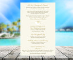 gold nautilus seashell stationary | beach wedding itinerary | menu