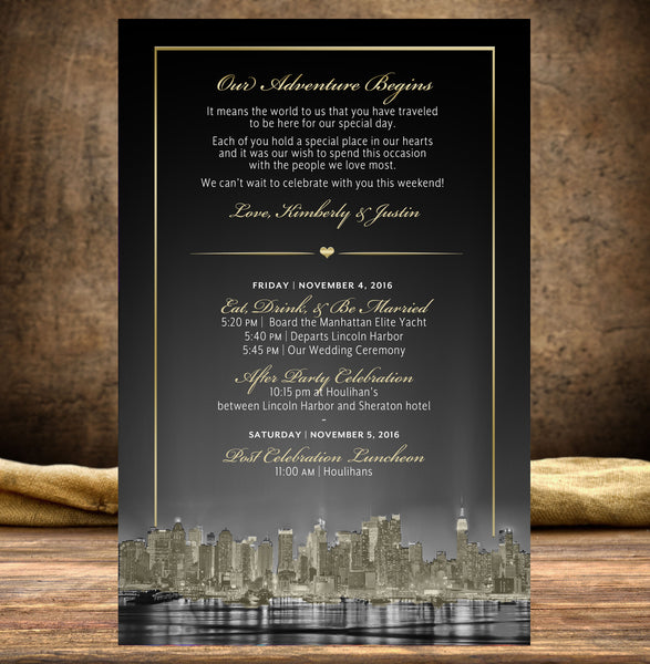 (sku512) New York printed stationery | 4 design options | wedding itinerary | party invitation - Best Welcome Bags