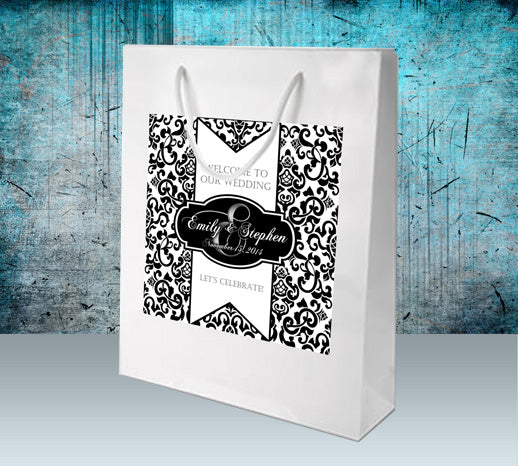 white or black welcome bag, black damask n custom monogram