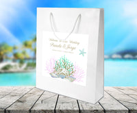Gold coral design on white gloss wedding welcome bag
