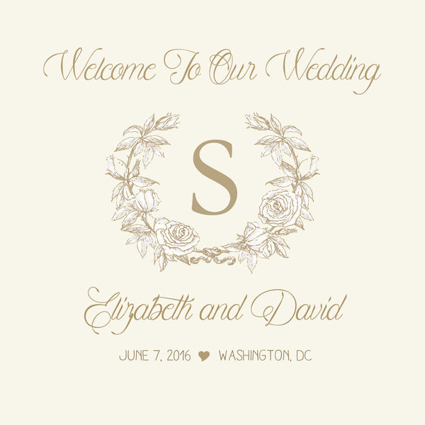 (sku107) Custom Monogram in wreath Wedding Welcome Bag labels | Gable box stickers - Best Welcome Bags