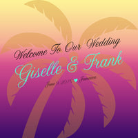 Custom palm tree label for beach wedding favor welcome bag