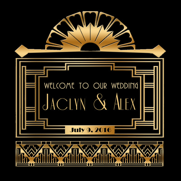 (sku261) Gatsby welcome Bag label | Great Gatsby Wedding favor sticker | hotel goody bag - Best Welcome Bags