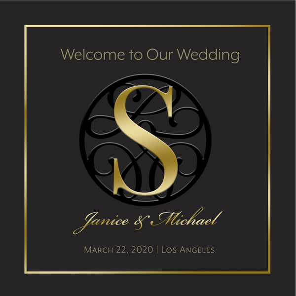 (sku050) gold on black Wedding Welcome Bag label | hotel guest goody bag sticker - Best Welcome Bags