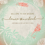 (sku414) Rustic palm welcome bag labels | beach destination wedding | Gable box stickers - Best Welcome Bags