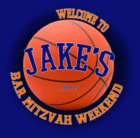 Basketball Bar Mitzvah Welcome Bag label 4 hotel guest favor