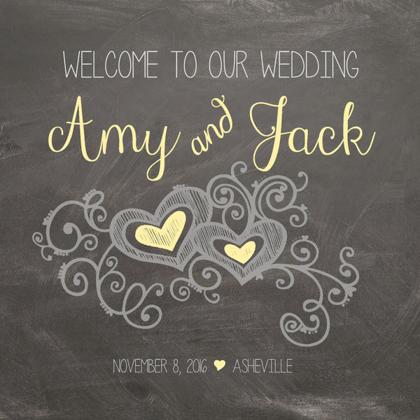 Custom chalkboard wedding welcome bag label