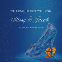 Disney Cinderella's Slipper wedding welcome bag label