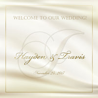 gold on ivory monogram wedding welcome bag or gable box label