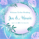beach wedding welcome bag adhesive label blue palm design