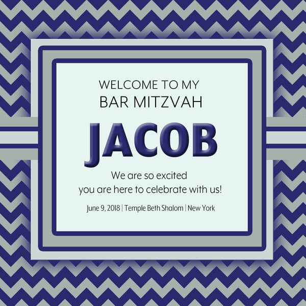 (sku723) Any color chevron Welcome Bag labels | Gable box stickers | mitzvah | birthday - Best Welcome Bags