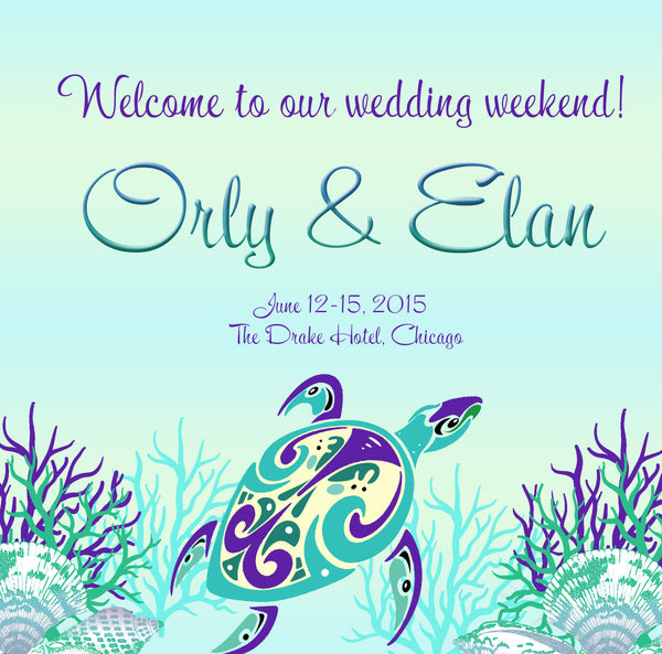 (sku436) Sea turtle | beach wedding | welcome bag label | Gable box sticker - Best Welcome Bags