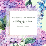 hydrangea wedding welcome bag labels | gable box stickers
