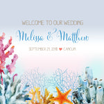 (sku409) Welcome bag labels | Bright ocean coral | destination wedding | Gable box labels - Best Welcome Bags