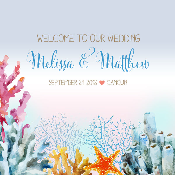 ocean coral beach wedding welcome bag label