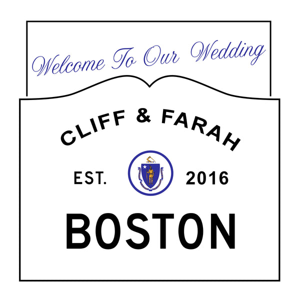 Boston MA wedding welcome bag labels
