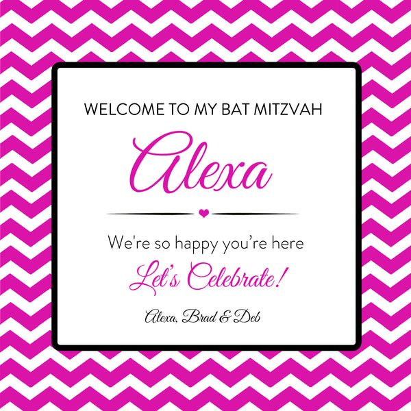 (sku715) Any color chevron Welcome Bag labels | Mitzvah party favor bag sticker - Best Welcome Bags