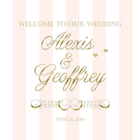 (sku136) custom blush pink stripe + gold text Welcome Bag labels | Gable box stickers - Best Welcome Bags
