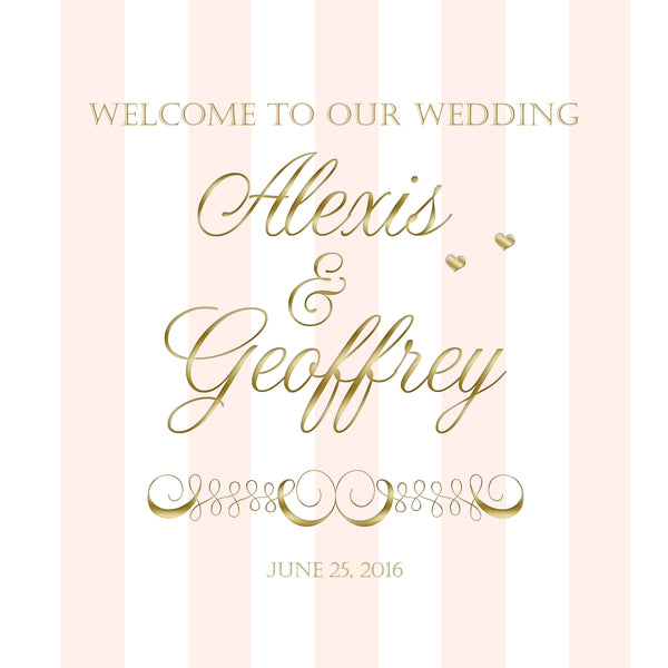 broad blush stripe with gold text welcome bag labels