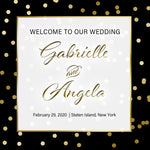 (sku200) Gold dot on black | wedding welcome bag label | hotel guest favor sticker - Best Welcome Bags