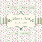 pink n sage gingham wedding welcome bag label