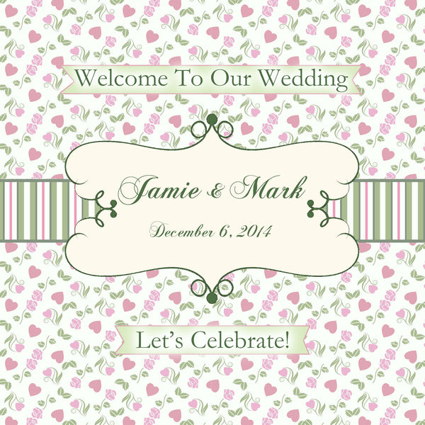 (sku060) Pink n sage gingham wedding welcome bag labels | Gable box stickers - Best Welcome Bags