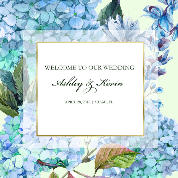 Blue or purple hydrangea Wedding Welcome Bag labels | Gable box stickers - Best Welcome Bags