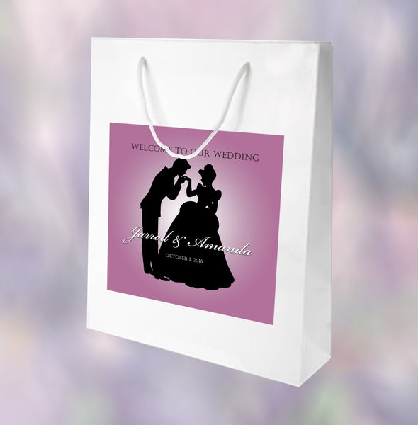 (sku668) Cinderella silhouette Welcome Bags | Prince Charming birthday party favor bags - Best Welcome Bags