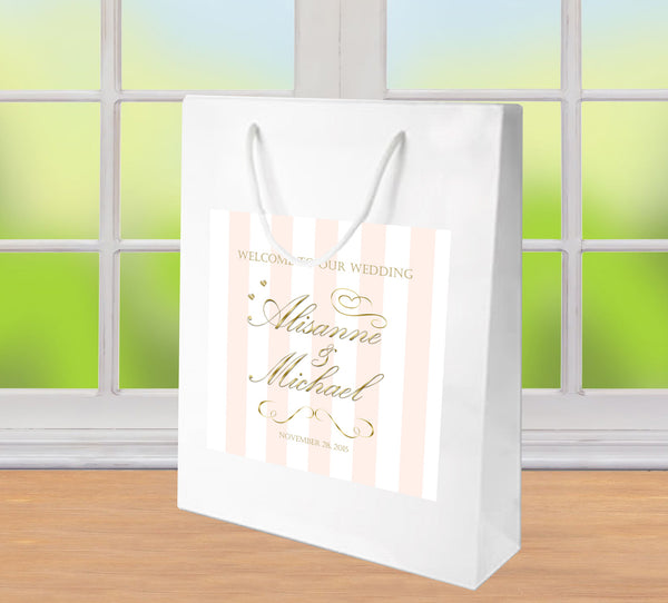 wedding welcome bags | blush pink stripes on white gloss bags