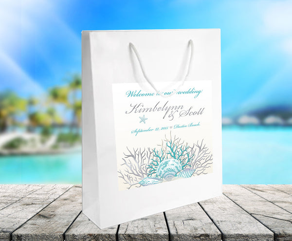 (sku423) Ocean coral on white gloss welcome bag for hotel guest hospitality gift bag, wedding favor