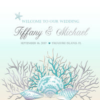 Silver teal sea coral wedding welcome bag label