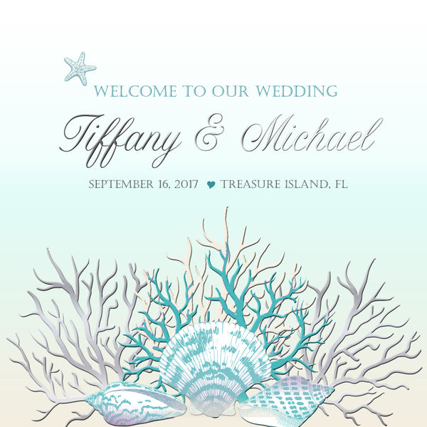 (sku422) Teal + silver sea coral | welcome bag label | Beach destination wedding bag sticker - Best Welcome Bags