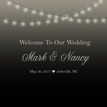 string of lights wedding welcome bag label