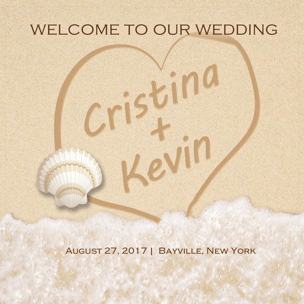 (sku400) Writing in sand | Wedding Welcome Bag labels | Gable box stickers | Florida - Best Welcome Bags