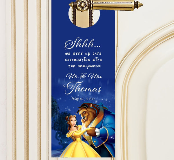 (sku614) Disney's Beauty + The Beast | do not disturb sign | wedding door hangers | guest favor - Best Welcome Bags