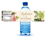 (sku125) Water bottle label, blush roses on ivory for wedding shower, reception, party, welcome bag
