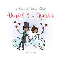 (sku303) Cartoon bride + groom wedding welcome bag | hotel guest gift bags | pick colors